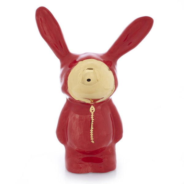 Red Ceramic Bunny Sculpture with gold luster face by Sootcookie