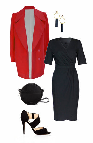 Evening outfit, Nancy Dee black wrap dress