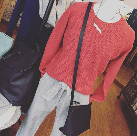 Ally-Bee coral knit teamed with ND organic cotton trousers and Aura Que across body bag