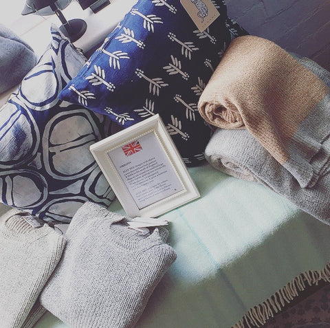 Beautiful hand printed cushion covers by Komana and super soft knits and blankets by Ally-Bee