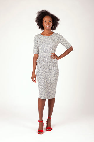 Gwen Peplum Dress Waves Print