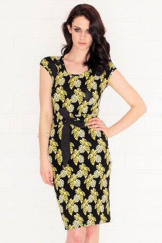 Penelope Black Tropical Leaf print