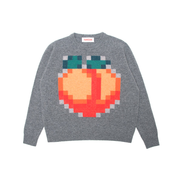 PEACH PIXEL CREW SWEATER GREY