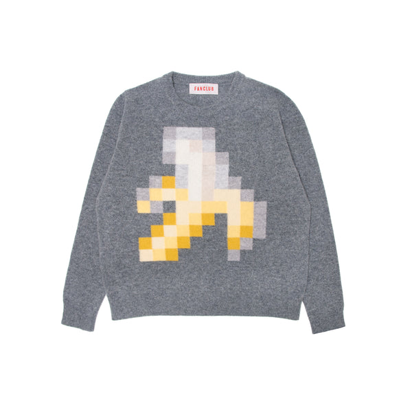 BANANA PIXEL CREW SWEATER GREY