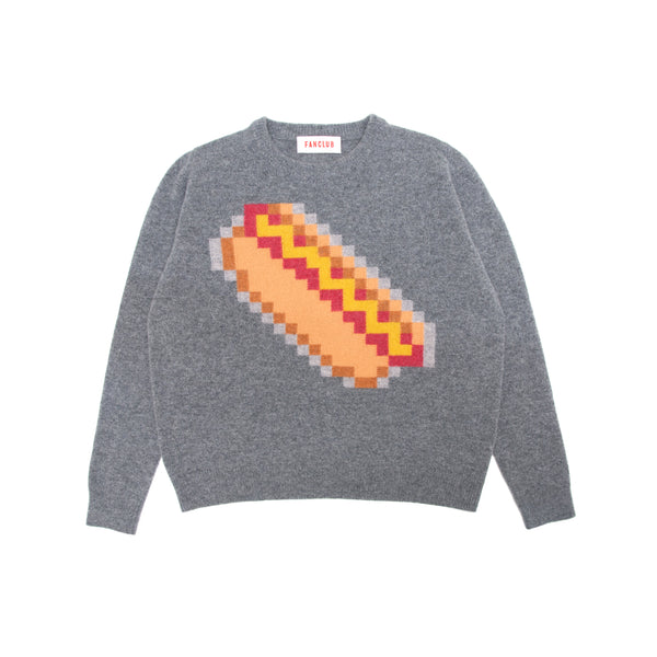 HOTDOG PIXEL CREW SWEATER GREY
