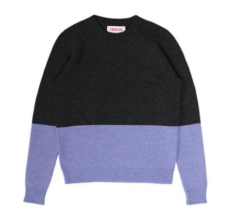 SUNSET CREW SWEATER CHARCOAL/LAVENDER