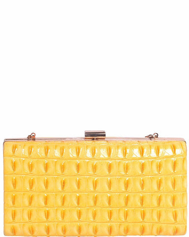 Yellow Faux Croc Evening Bag