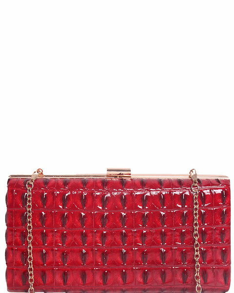 Red Faux Croc Evening Bag-Jezzelle