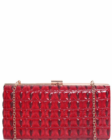 Red Faux Croc Evening Bag