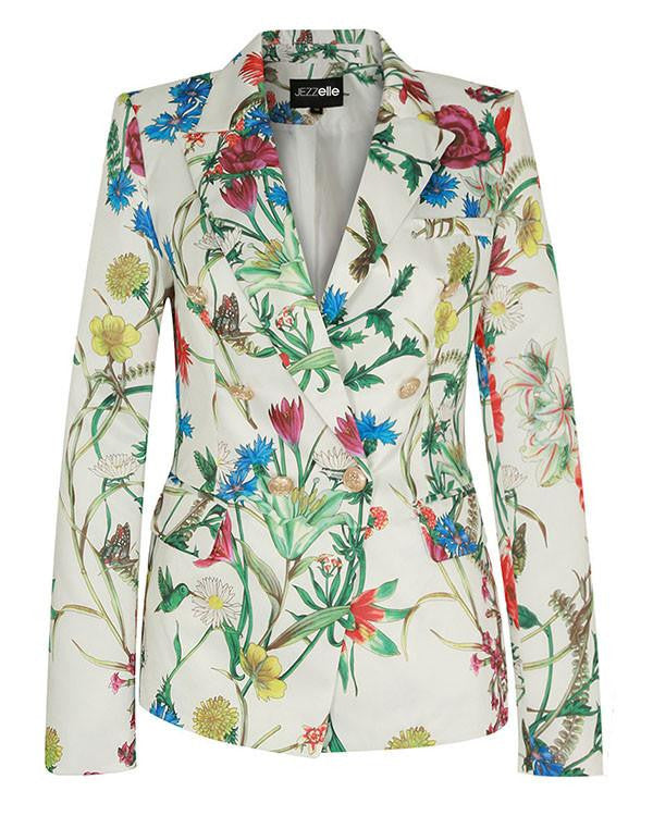 Double Breasted Floral Print White Blazer-Jezzelle