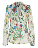 Double Breasted Floral Print White Blazer