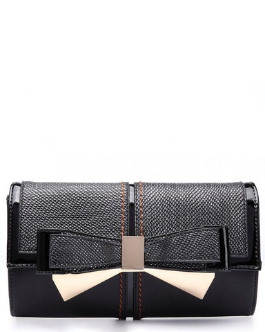 Bow Clutch Black Shoulder Bag - Jezzelle