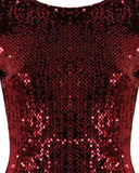 Wine Sequin Bodycon Dress-Jezzelle