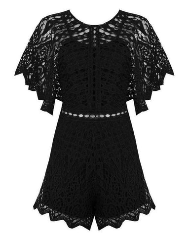 Black Lace Playsuit - Jezzelle