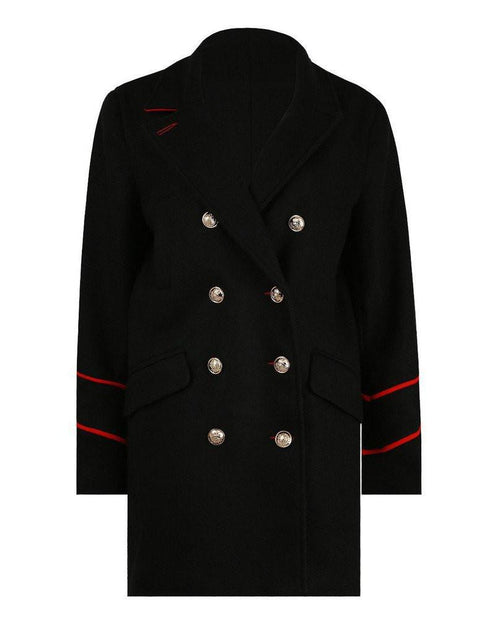 Double breasted black wool peacoat-Jezzelle