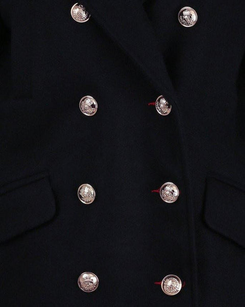 Double breasted navy wool peacoat-Jezzelle