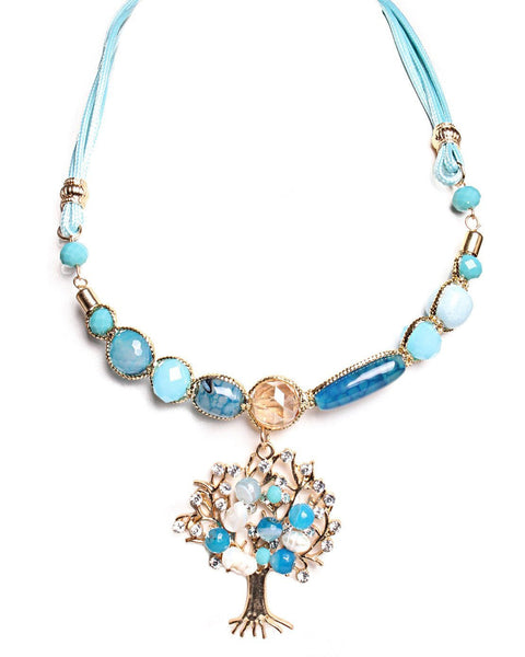 Turquoise Tree Of Life Necklace - Jezzelle