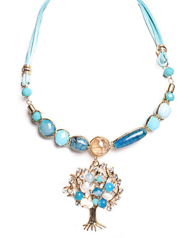 Turquoise Tree Of Life Necklace-Jezzelle