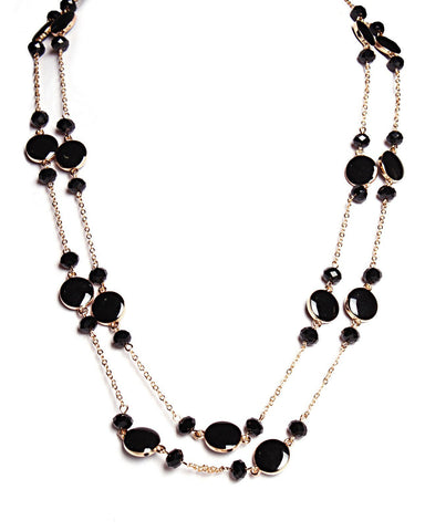Flat Beads Long Necklace
