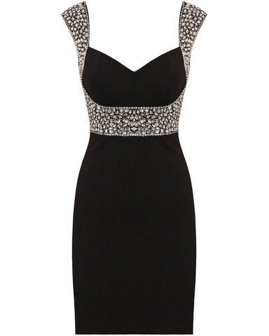 BLACK EMBELLISHED BODYCON DRESS-Jezzelle