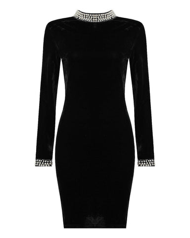 Pearls Embellished Velvet Dress - Jezzelle