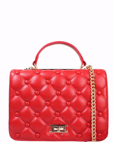 Quilted Red Shoulder Bag-Jezzelle