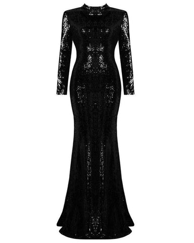 Magic Sequins Black Maxi Dress-Jezzelle