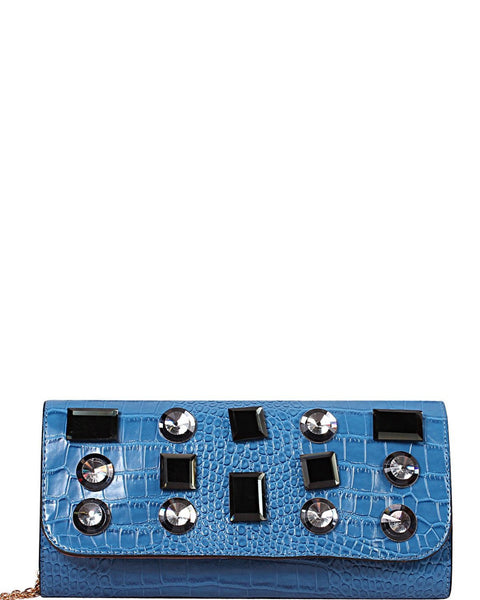 Blue Croc Clutch - Jezzelle