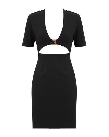 Open Front Buckle Detail Bodycon Dress