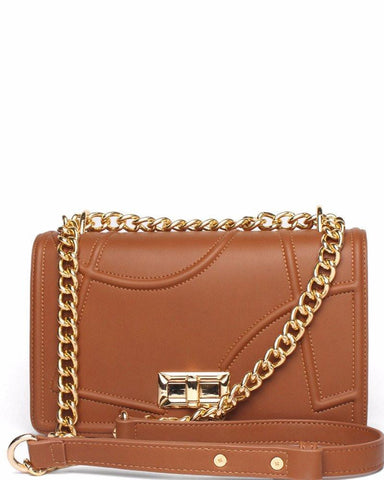 Geometric Texture Camel Shoulder Bag - jezzelle  - 1