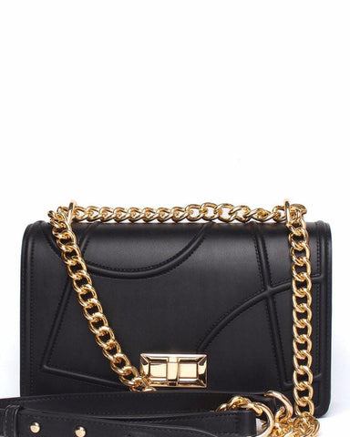 Textured Black Shoulder Bag - Jezzelle
