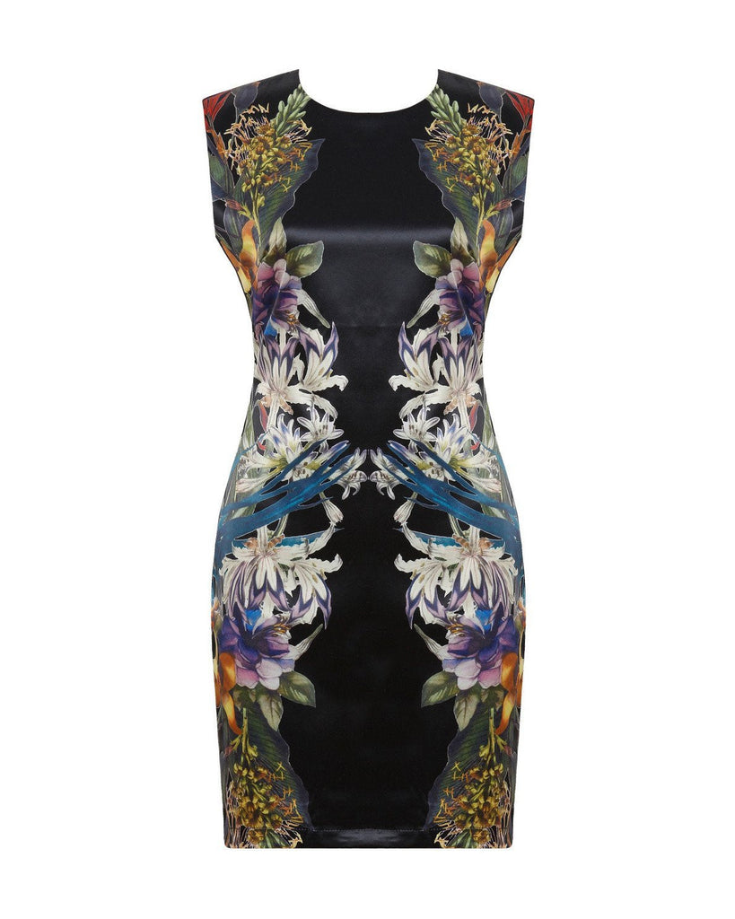 Multicolour Floral Print Bodycon Dress-Jezzelle