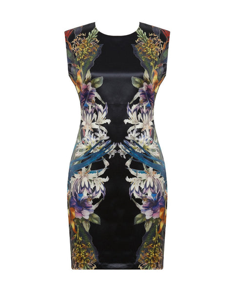 Multicolour Floral Print Bodycon Dress - Jezzelle