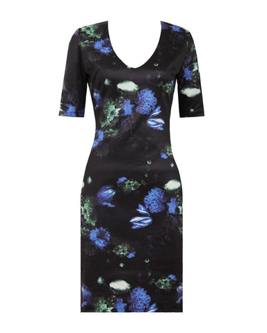 Black Floral Shift Dress - Jezzelle