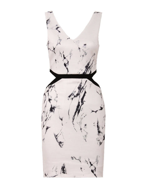 Marble Print Bodycon Dress - Jezzelle
