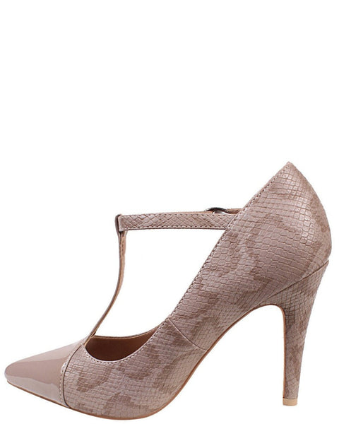 Nude Python Print T-Bar Shoes-Jezzelle