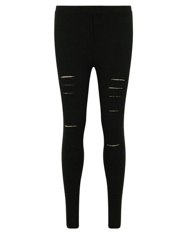 Black Cropped & Ripped Leggings - Jezzelle