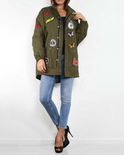 Badge Detail Fishtail Khaki Jacket - Jezzelle
