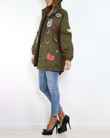Badge Detail Fishtail Khaki Jacket-Jezzelle