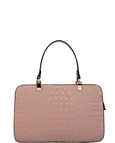 Croc Effect Mini Nude Handbag - Jezzelle