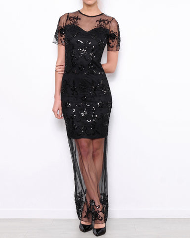 Sequinned Net Maxi Dress-Jezzelle