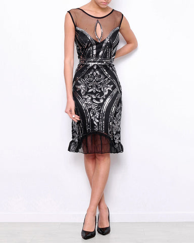 Sequin Gatsby Midi Dress-Jezzelle