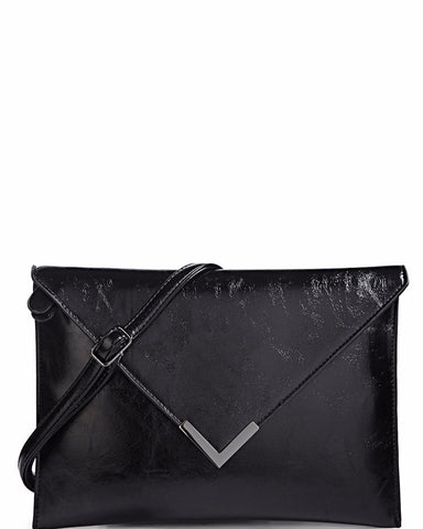 Metal Corner Black Envelope Clutch - Jezzelle