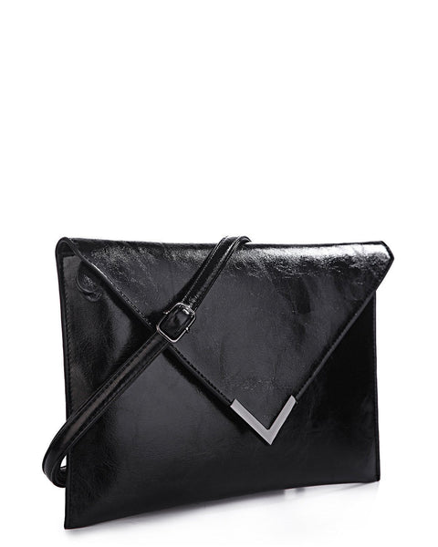 Metal Corner Black Envelope Clutch - jezzelle  - 2