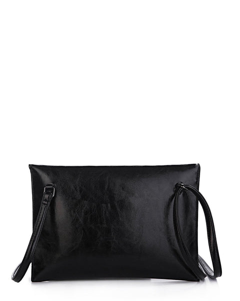 Metal Corner Black Envelope Clutch - jezzelle  - 3