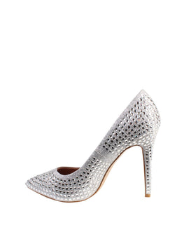 Encrusted Silver Stiletto Shoes - Jezzelle
