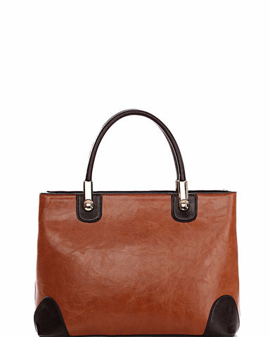 Contrast Corners Brown Medium Tote Bag-Jezzelle