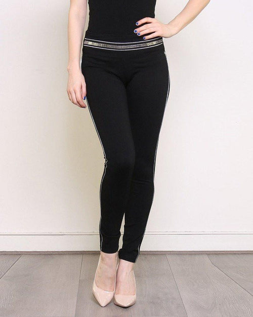 Piped Smart Black Treggings-Jezzelle