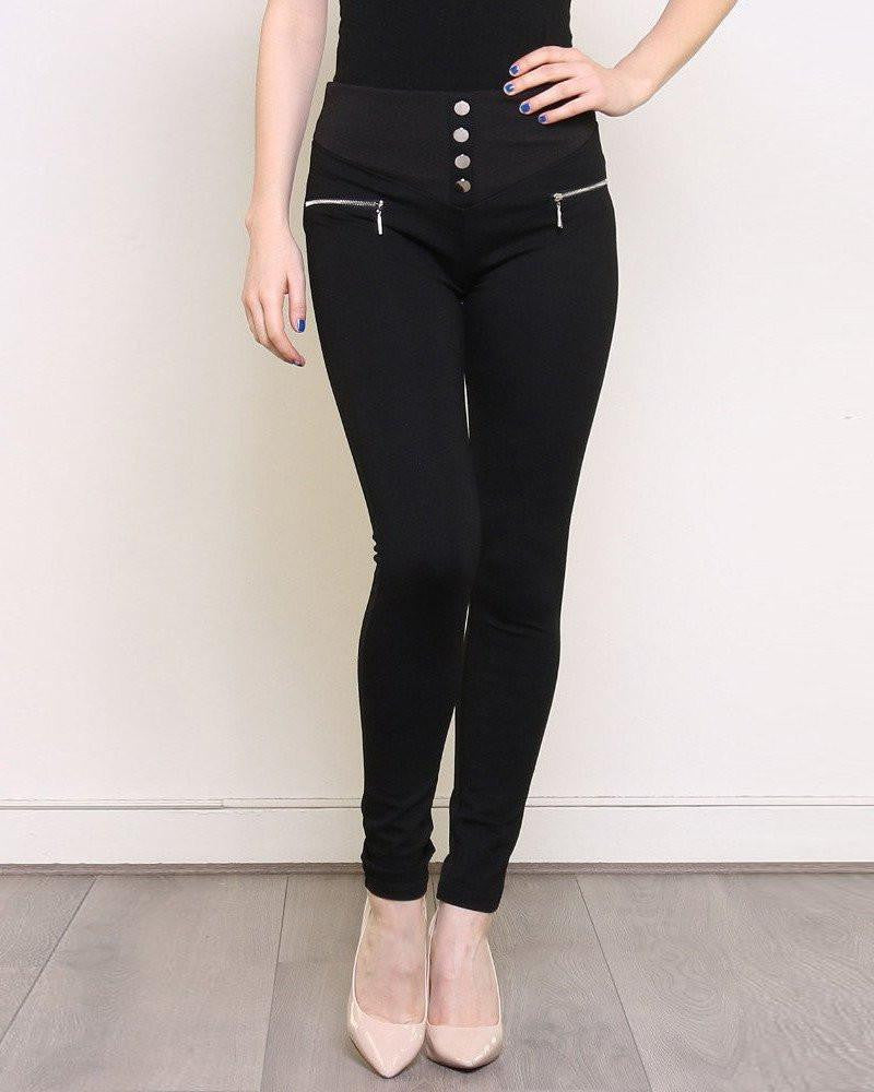 Black Smart Treggings with Silver Buttons-Jezzelle