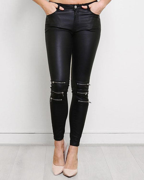 Faux Leather Zipped Jeans-Jezzelle